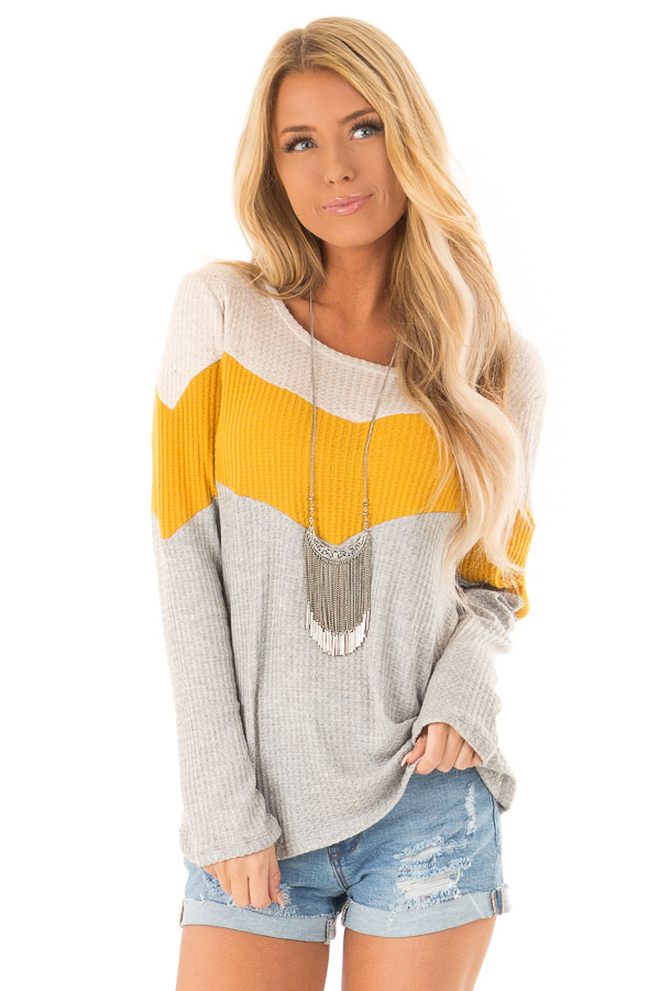 Heather Grey and Mustard Color Block Long Sleeve Top front close up