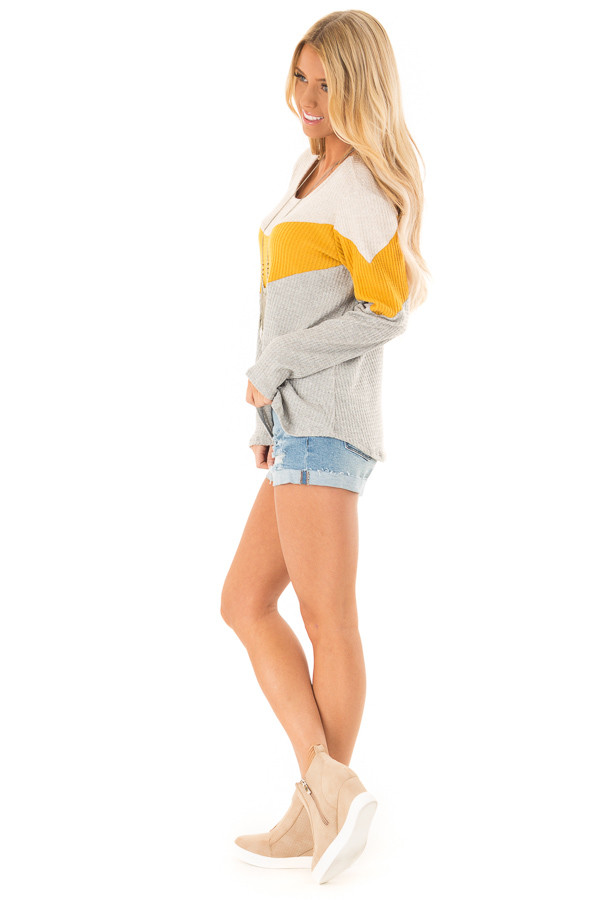 Heather Grey and Mustard Color Block Long Sleeve Top side full body