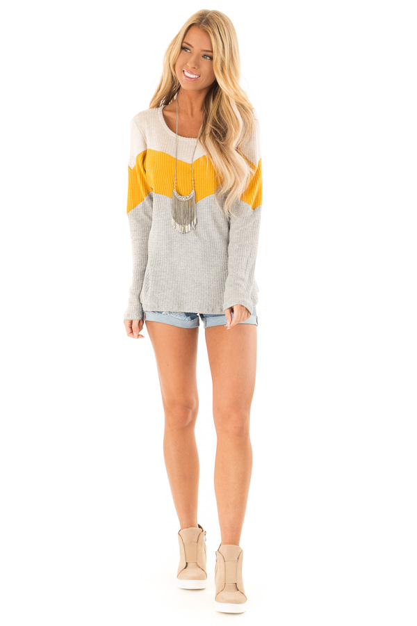 Heather Grey and Mustard Color Block Long Sleeve Top front full body