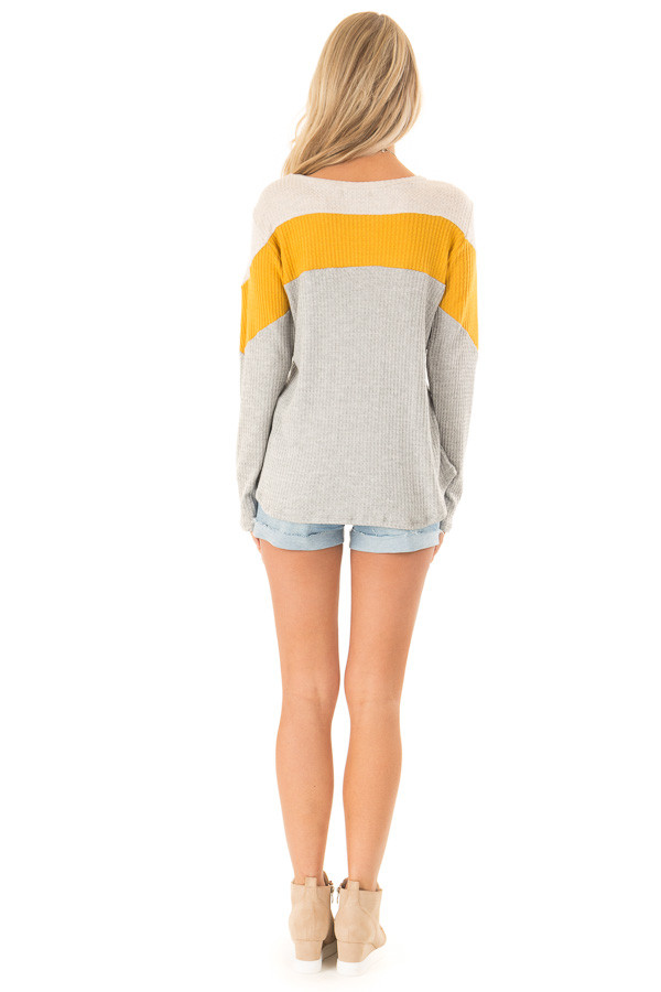 Heather Grey and Mustard Color Block Long Sleeve Top back full body