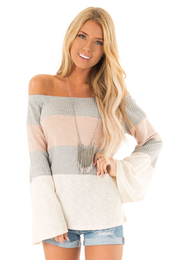 Dusty Mauve and Heather Grey Color Block Off Shoulder Top front close up