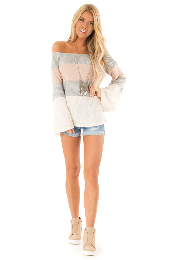 Dusty Mauve and Heather Grey Color Block Off Shoulder Top front full body