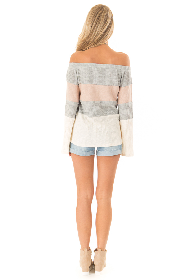Dusty Mauve and Heather Grey Color Block Off Shoulder Top back full body