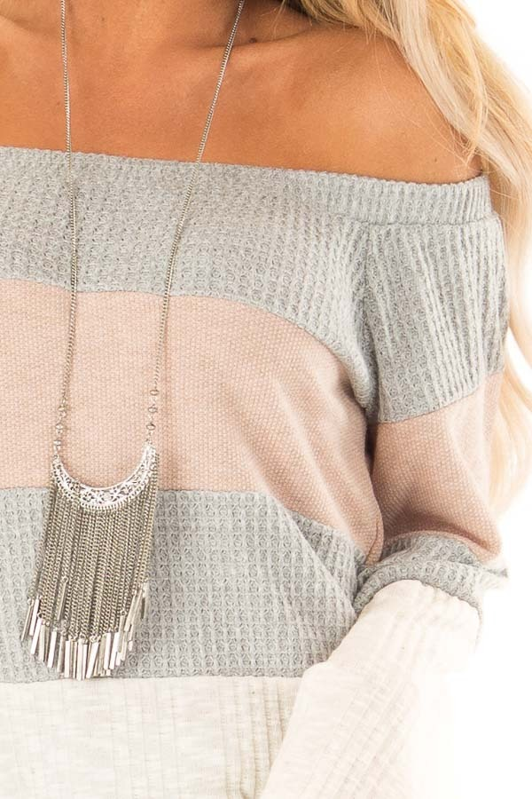 Dusty Mauve and Heather Grey Color Block Off Shoulder Top detail