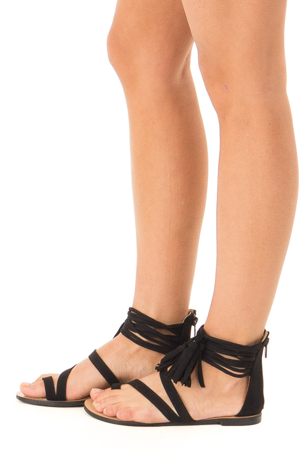 Black Strappy Ankle Sandals with Fringe Detail side view