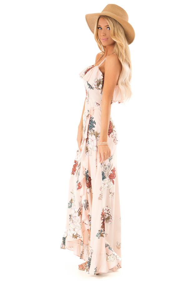 Pale Peach Floral Sleeveless Crossover Ruffle Maxi Dress side full body