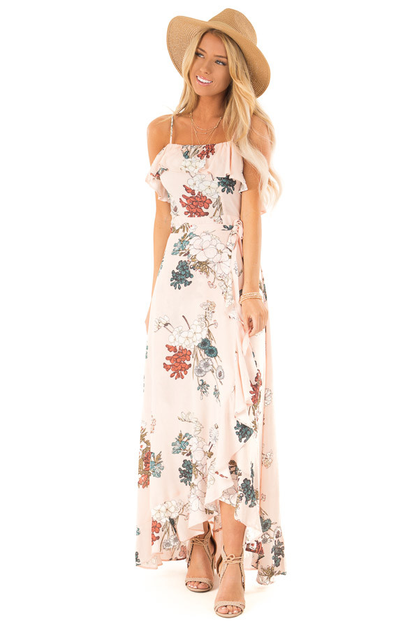 Pale Peach Floral Sleeveless Crossover Ruffle Maxi Dress front full body