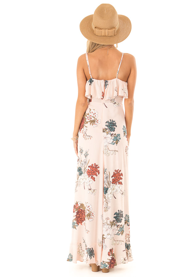 Pale Peach Floral Sleeveless Crossover Ruffle Maxi Dress back full body