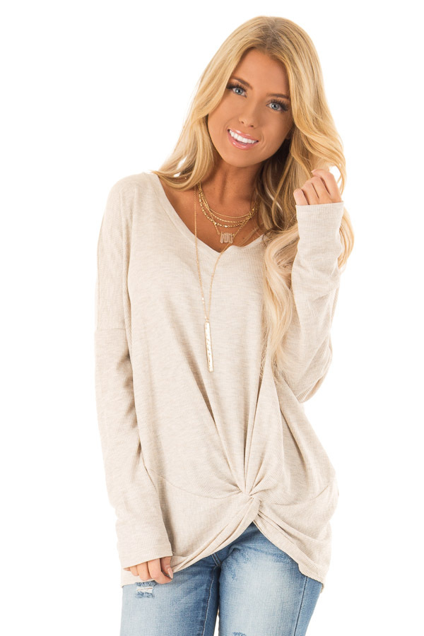 Desert Sand Long Sleeve V Neck Sweater with Twist Detail front close up