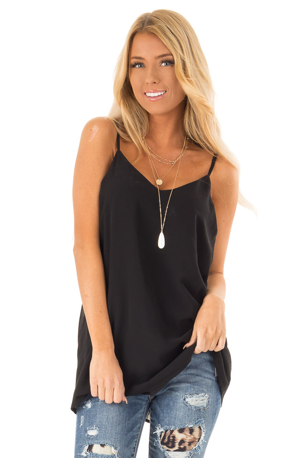 63abb80be78 Ink Black V Neck Tank Top with Criss Cross Back Strap Detail front close up