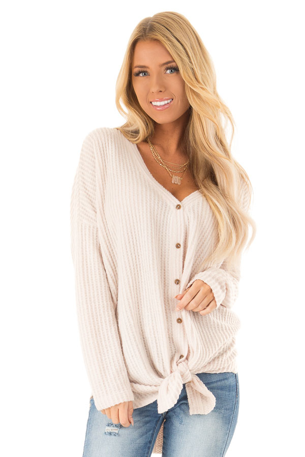 Light Taupe Long Sleeve Waffle Knit Top with Button Detail front close up 3d8879dc2