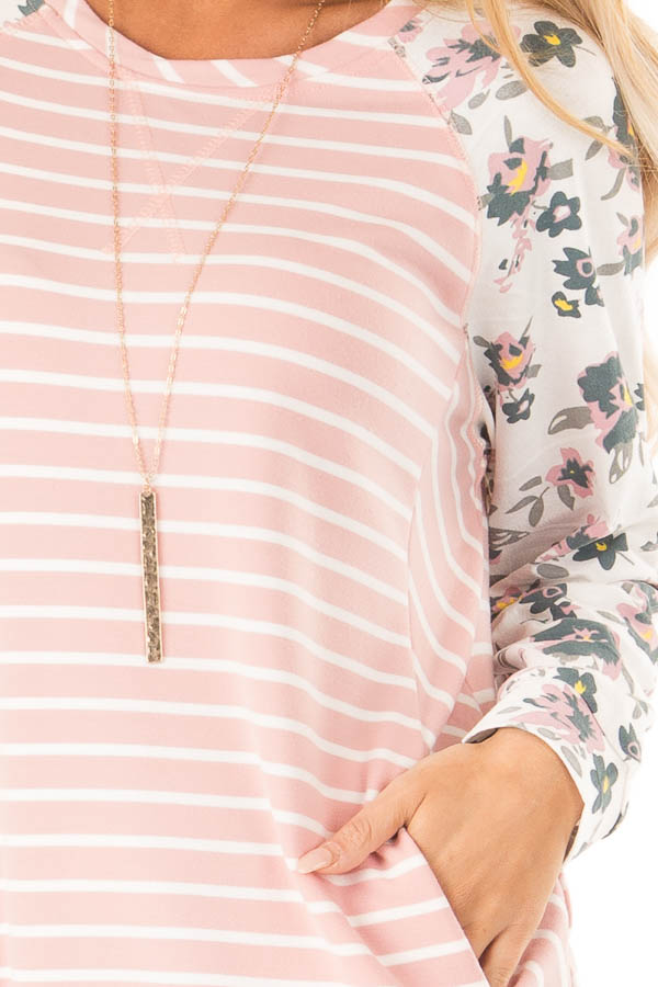 Blush Striped Raglan Floral Sleeve Top with Side Pockets detail