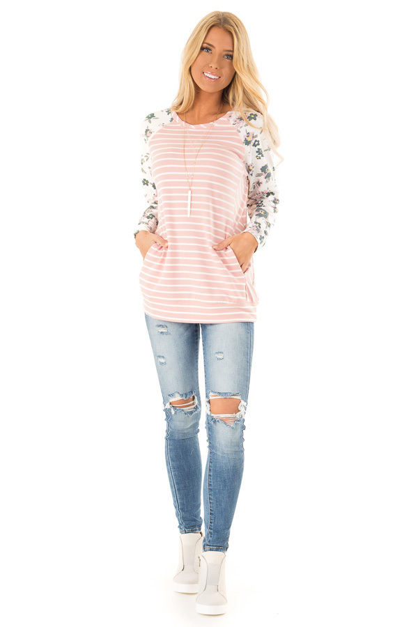 Blush Striped Raglan Floral Sleeve Top with Side Pockets front full body