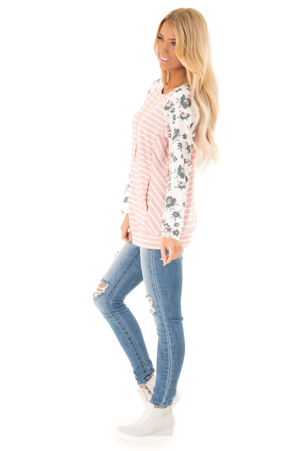 Blush Striped Raglan Floral Sleeve Top with Side Pockets side full body