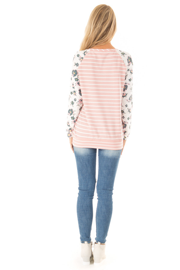 Blush Striped Raglan Floral Sleeve Top with Side Pockets back full body