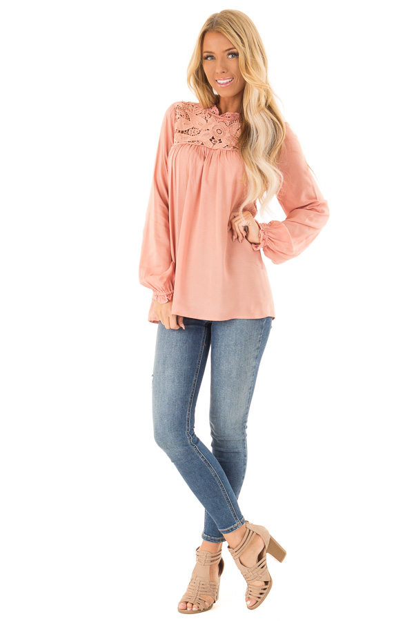 Blush Top with Sheer Lace Yoke front full body