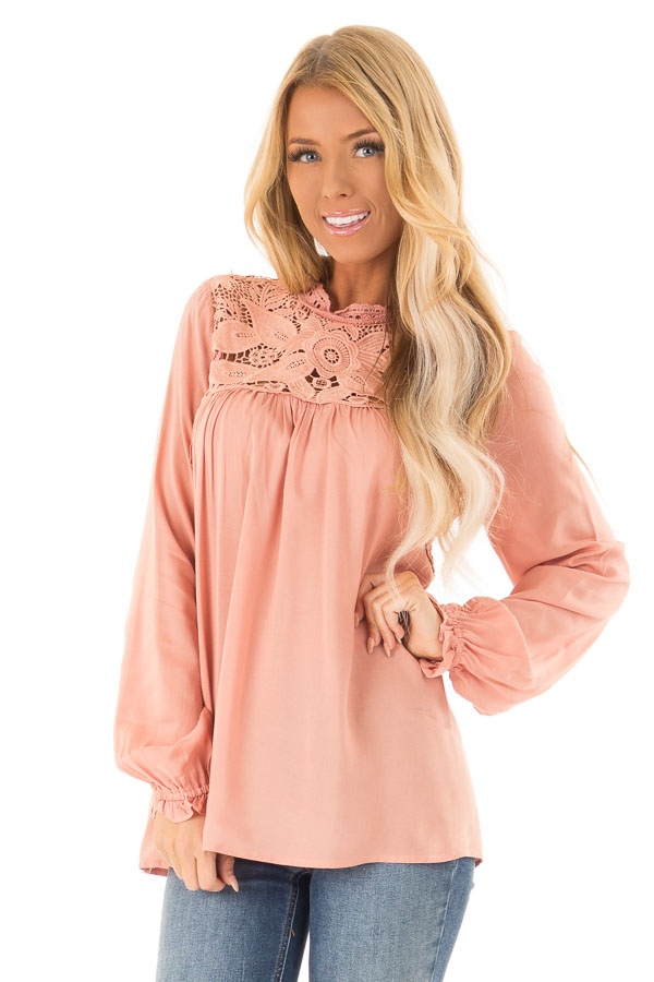 Blush Top with Sheer Lace Yoke front close up