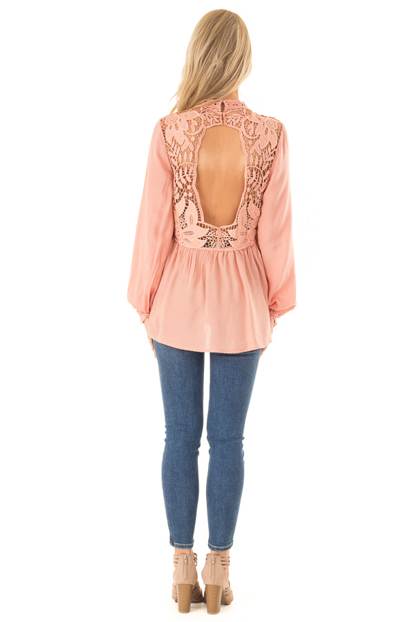 Blush Top with Sheer Lace Yoke back full body