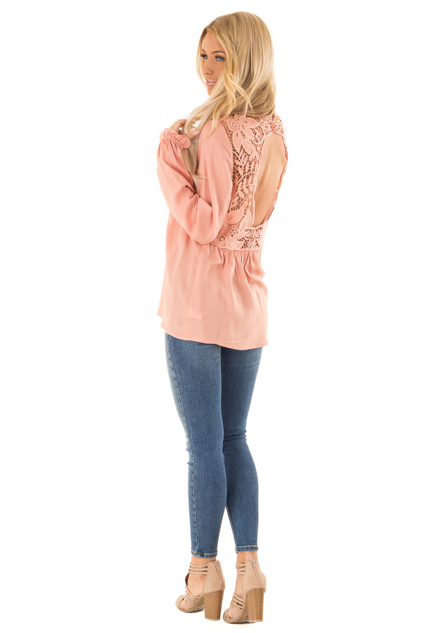 Blush Top with Sheer Lace Yoke side full body