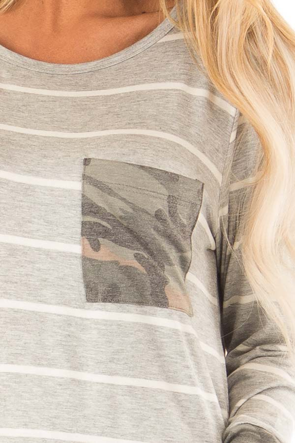 Heather Grey and Ivory Striped Top with Camouflage Contrast detail