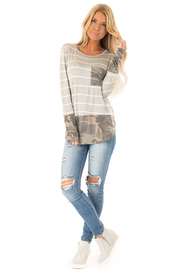 Heather Grey and Ivory Striped Top with Camouflage Contrast front full body