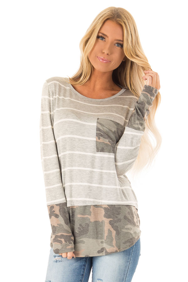 Heather Grey and Ivory Striped Top with Camouflage Contrast front close up