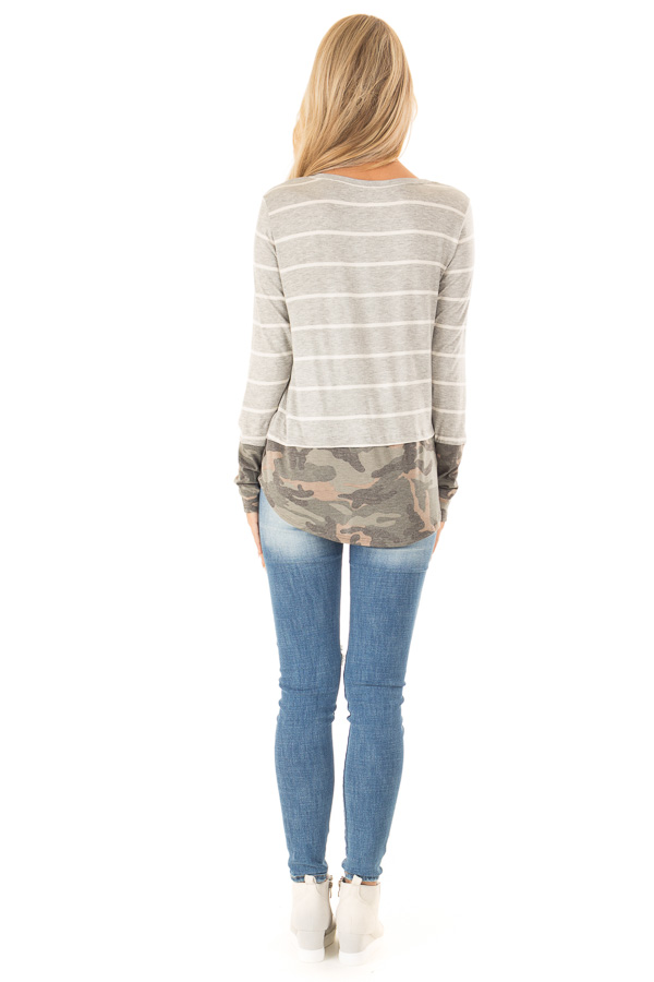 Heather Grey and Ivory Striped Top with Camouflage Contrast back full body