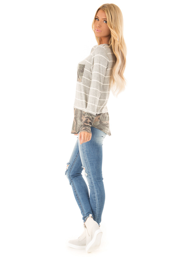 Heather Grey and Ivory Striped Top with Camouflage Contrast side full body