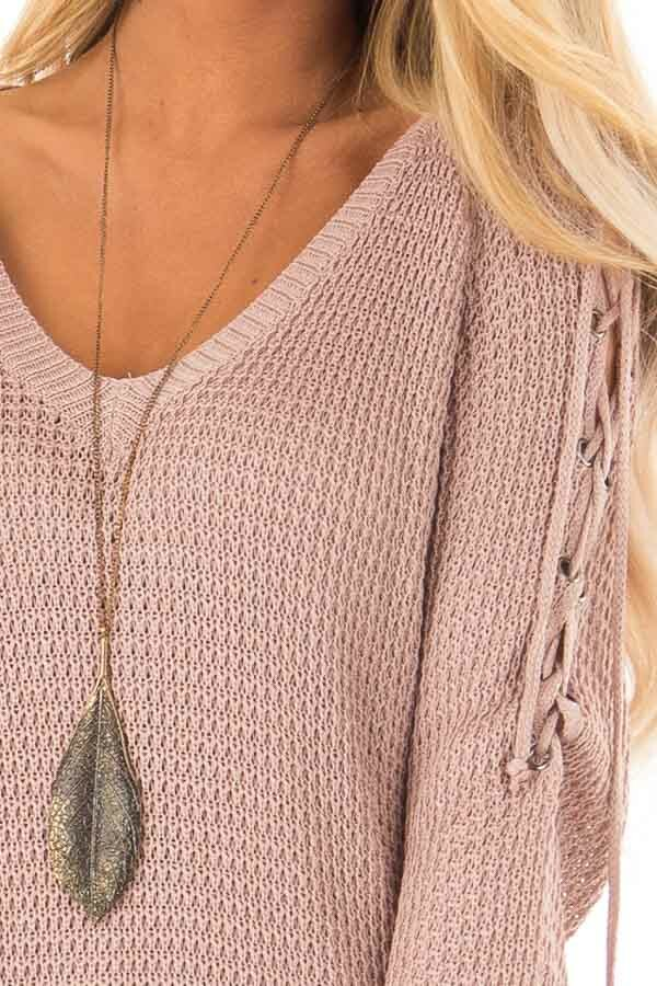 Mauve V Neck Knit Sweater with Criss Cross Cold Shoulders detail