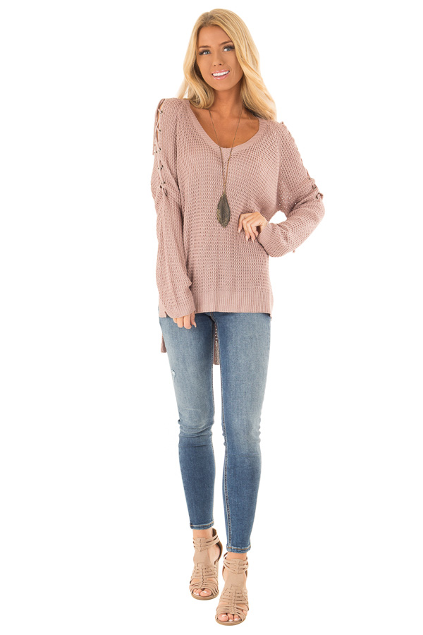 Mauve V Neck Knit Sweater with Criss Cross Cold Shoulders front full body