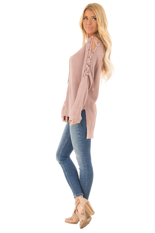 Mauve V Neck Knit Sweater with Criss Cross Cold Shoulders side full body