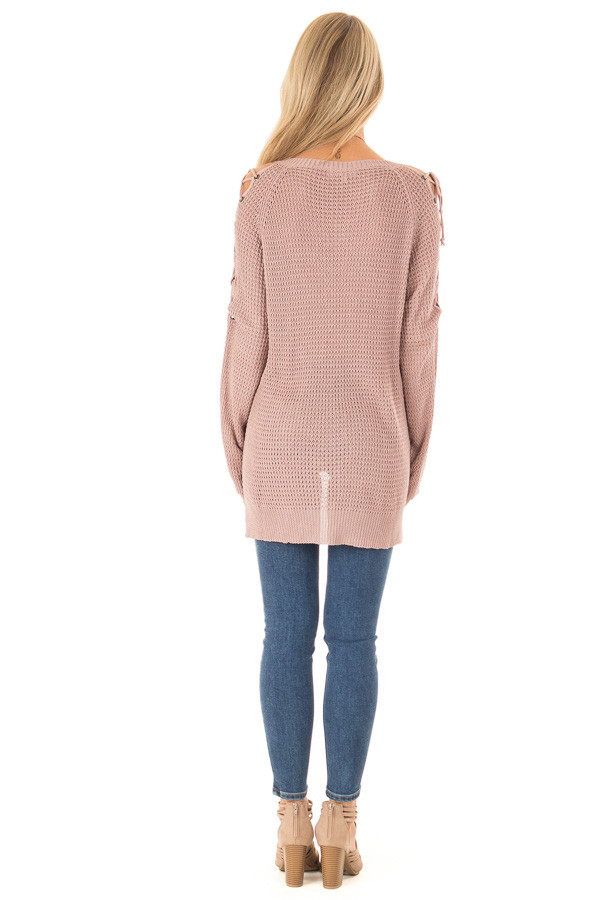 Mauve V Neck Knit Sweater with Criss Cross Cold Shoulders back full body