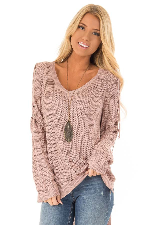 Mauve V Neck Knit Sweater with Criss Cross Cold Shoulders front close up
