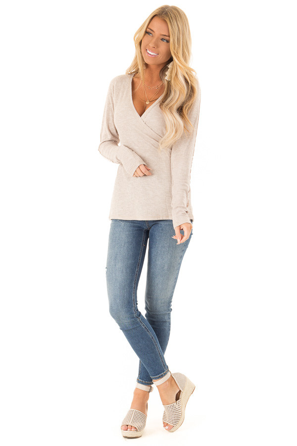 Khaki Surplice Style Long Sleeve Top with Lace Detail front full body
