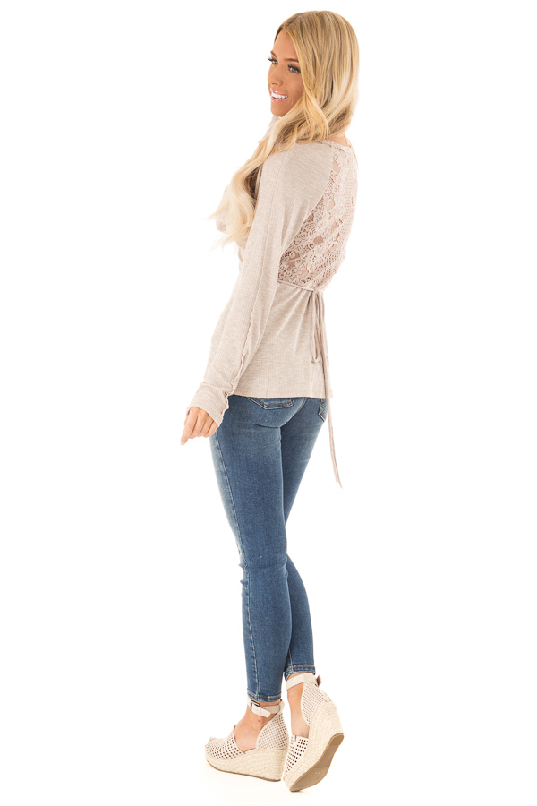 Khaki Surplice Style Long Sleeve Top with Lace Detail side full body