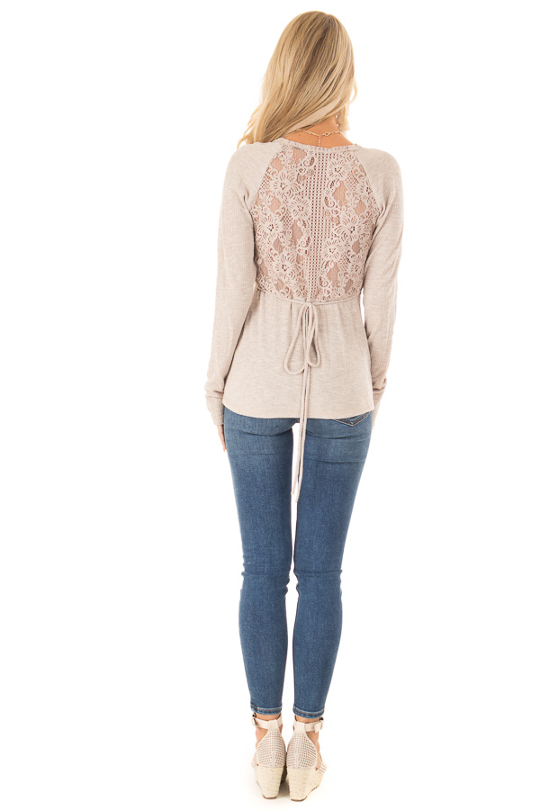 Khaki Surplice Style Long Sleeve Top with Lace Detail back full body