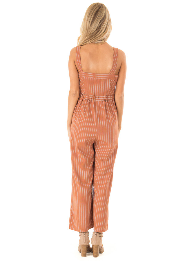 Rust Striped Button Up Sleeveless Wide Cropped Leg Jumpsuit back full body