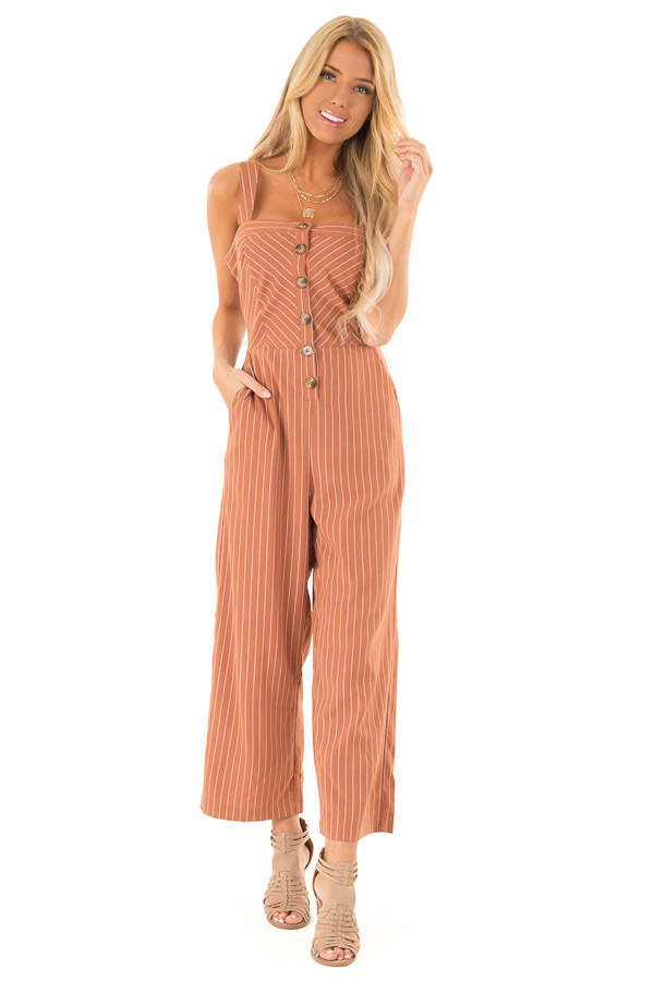 Rust Striped Button Up Sleeveless Wide Cropped Leg Jumpsuit front full body
