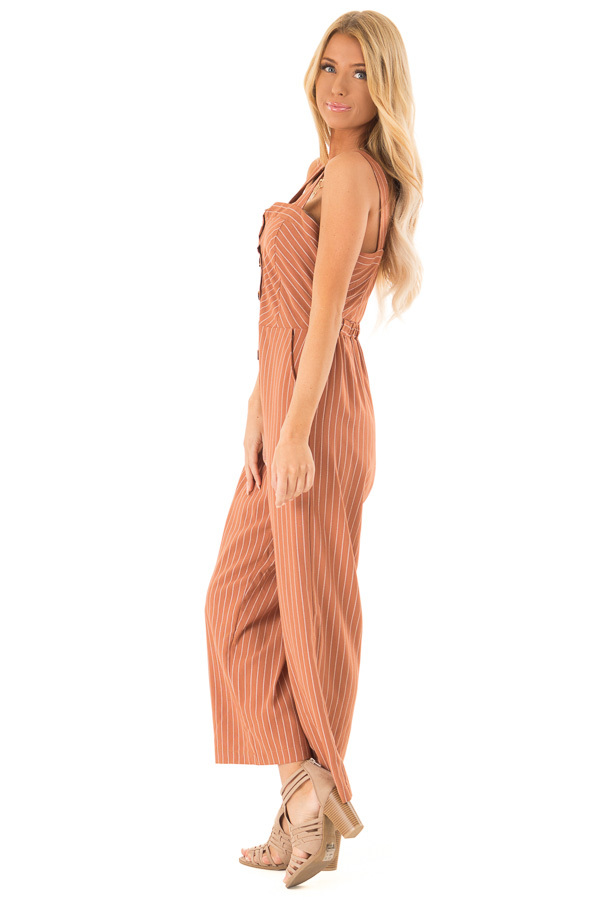 Rust Striped Button Up Sleeveless Wide Cropped Leg Jumpsuit side full body