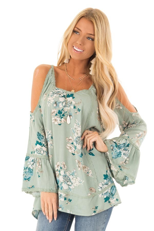 ddbbd49b3dd2cb Sage Floral Cold Shoulder Long Sleeve Top with Lace Details front close up
