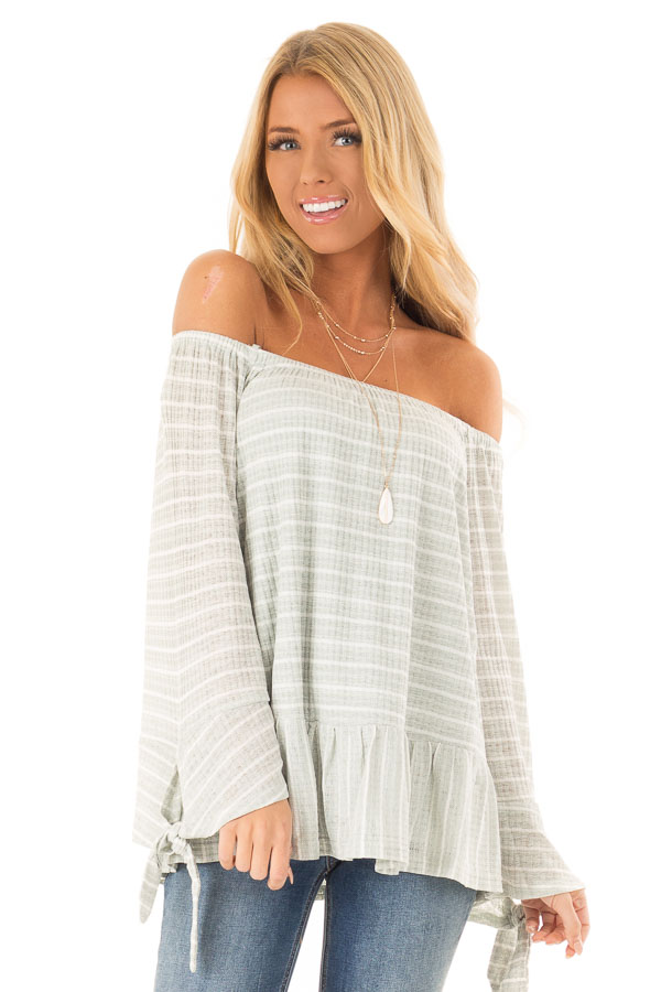 63670059d8d Pistachio and Ivory Striped Off the Shoulder Top with Ruffle front close up