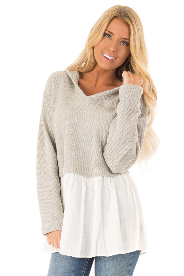 Heather Grey Two Tone Hooded Top with White Contrast front close up