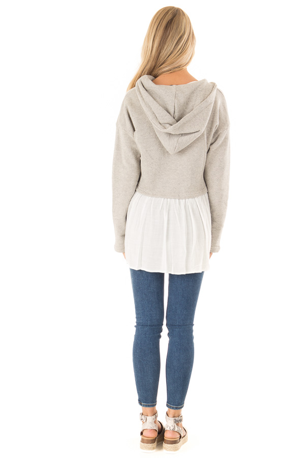 Heather Grey Two Tone Hooded Top with White Contrast back full body