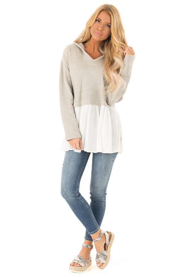 Heather Grey Two Tone Hooded Top with White Contrast front full body