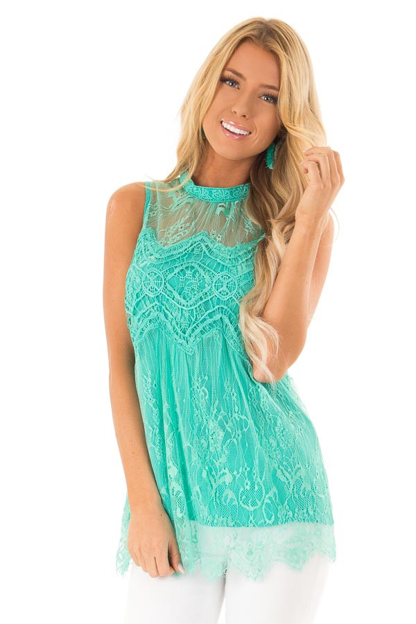 Jade Sleeveless Lace Blouse with Scalloped Hemline front close up