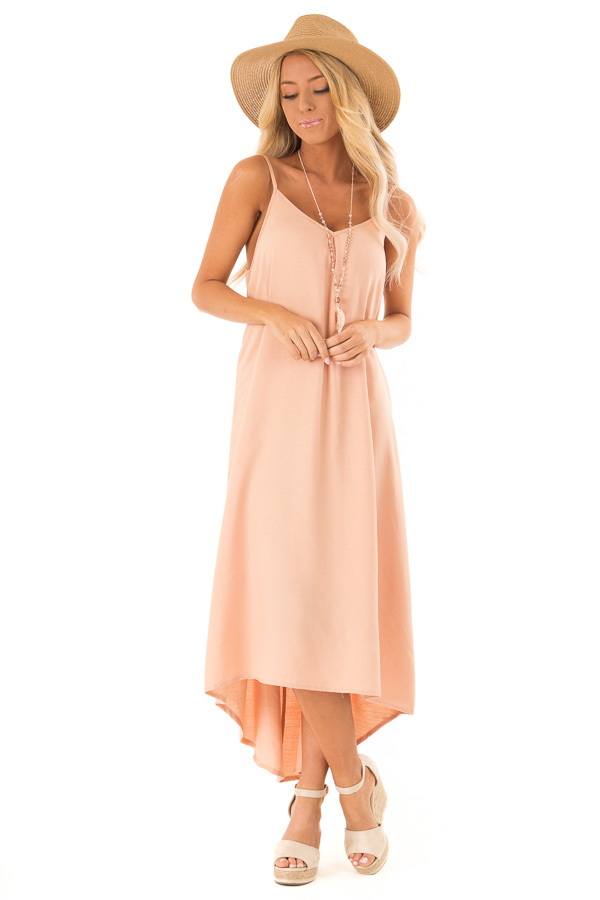 Dusty Peach Sleeveless Hi Low Dress with Braided Detail front full body