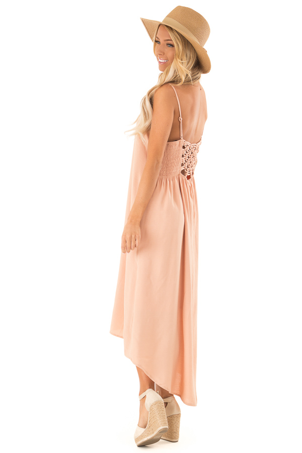 Dusty Peach Sleeveless Hi Low Dress with Braided Detail side full body