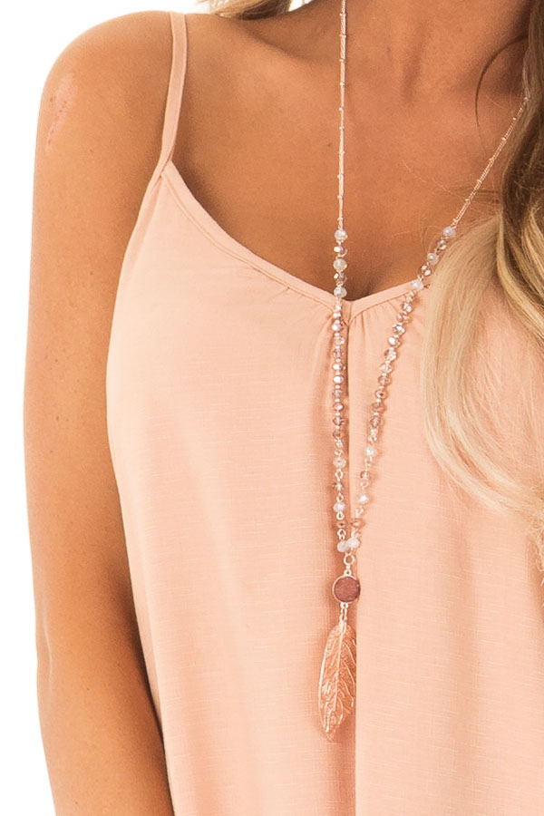 Dusty Peach Sleeveless Hi Low Dress with Braided Detail detail