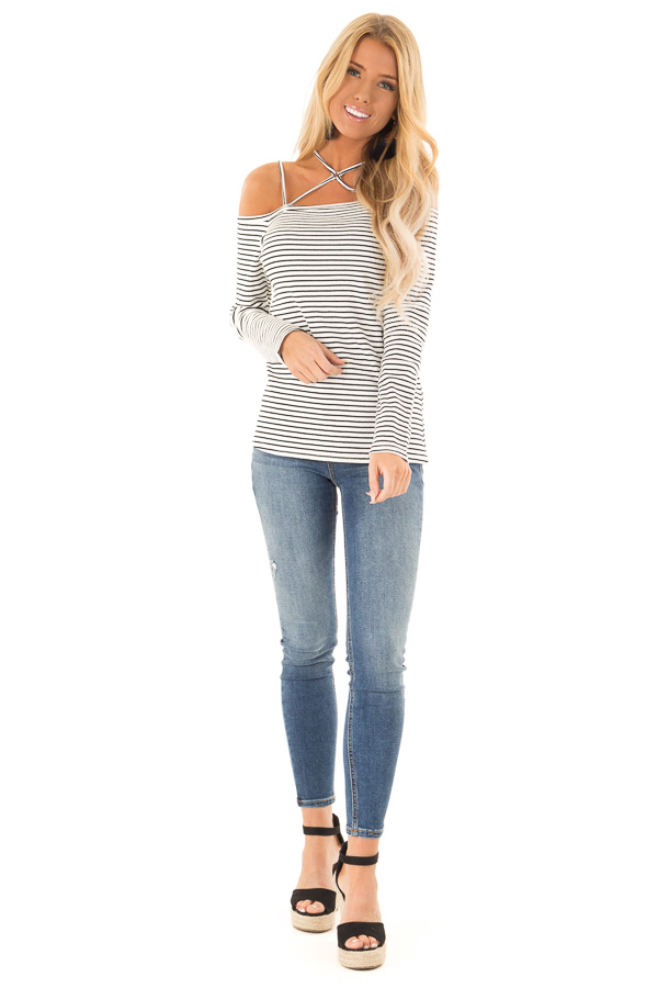 7f9db0f412f906 ... Off White Striped Strappy Neckline Cold Shoulder Top front full body ...