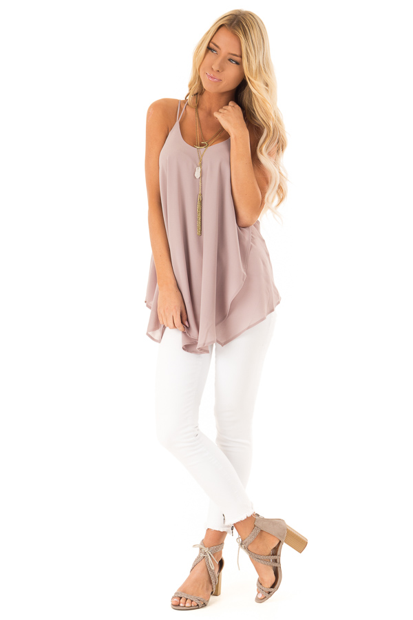 Dusty Mauve Spaghetti Strap Tank with Double Strap Detail front full body